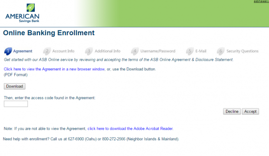 ASB Online Banking Enroll - Step 2