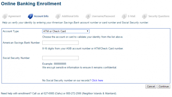ASB Online Banking Enroll - Step 3