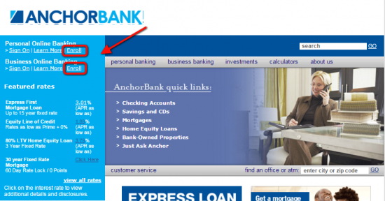 AnchorBank Online Banking Enroll - Step 1