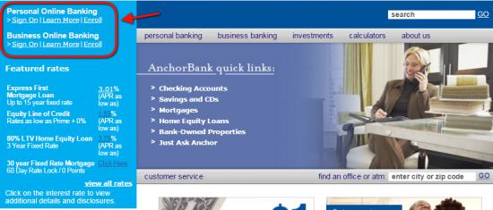AnchorBank Online Banking Login - Step 2