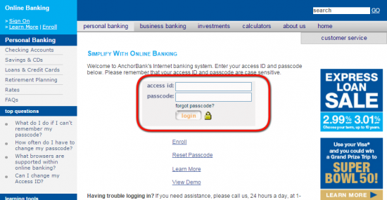 AnchorBank Online Banking Login - Step 3