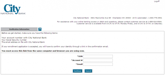 City National Bank Online Banking Enroll - Step 3