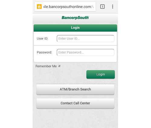 BancorpSouth Mobile Login - 2