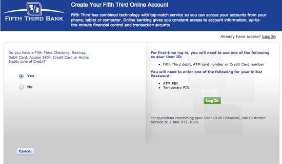 fifth third bank enrollment page